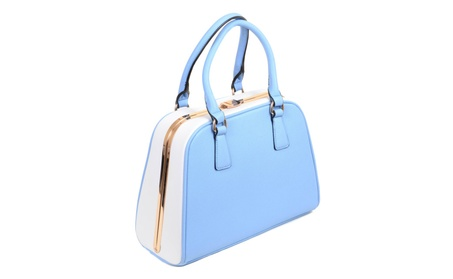 Colorblock Round Handle Vegan Leather Retro Bowler Bag Purse (Goods Women's Fashion Accessories Handbags Satchels) photo
