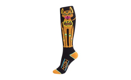 Egyptian Cat - Knee High Athletic Stripe Crew Socks - Unisex Adult Black