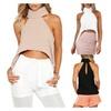 Womens Turtleneck Off Shoulder Sleeveless Hi Low Blouse Shirt Crop Top