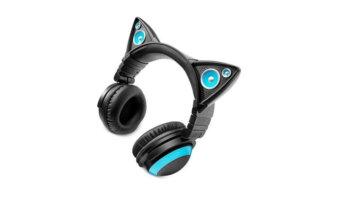 Blue LED Wired Brookstone Axent Wear Cat Ear Headphones Mic Speaker ...