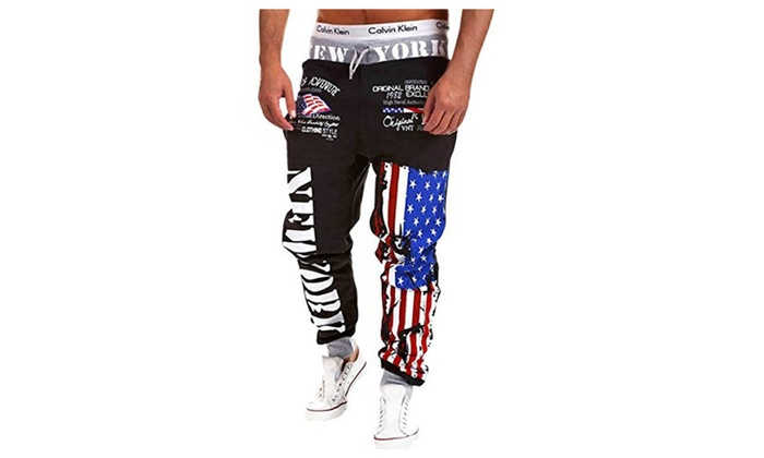 Men's Flag Pattern Hip Pop Jogging Sweat Pants