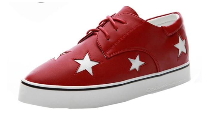 Women's PU Round Toe Lace up Skate Shoes