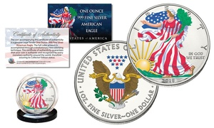2018 1 oz Colorized 2-Sided Official .999 Fine Silver American Eagle U.S. Coin