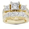 3 1/2ct Side Stone Diamond Ring Set 14K Yellow Gold