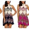 Women's Casual Sleeveless Halter Neck Boho Print Short Dress Sundress