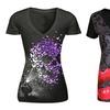 Women Skull Print T Shirt Butterfly Pattern Short Sleeve V-Neck Tee Top