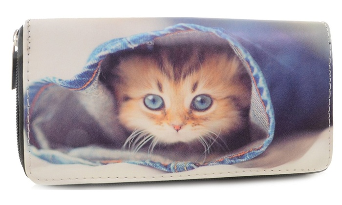 Adorable Kitten in Blue Jeans Bi-Fold Vegan Leather Wallet