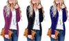 Women's Snap Button Down Knit Ribbed Neckline Cotton Long Sleeve Cardigan
