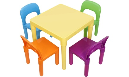 ZENY Kids Plastic Table and 4 Chairs Set, Multicolor Play Room Furniture