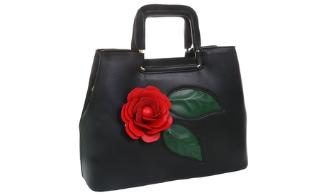 Red Rose Top Handle Satchel White Black Vegan Leather Handbag Purse (Goods Women's Fashion Accessories Handbags Satchels) photo