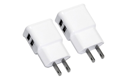 Pack of 2 Dual-Port USB Wall Charger for iPhone Samsung fc69e6b4-8463-4dcc-82f1-ca8146be9a78