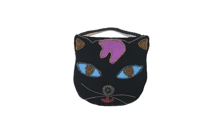 Black Cat Shape Handmade Strap Beaded Black Velvet Purse (Goods Women's Fashion Accessories Handbags Cross-Body) photo