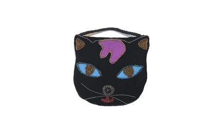 Black Cat Shape Handmade Strap Beaded Black Velvet Purse (Goods Women's Fashion Accessories Handbags Cross-Body) photo