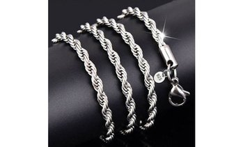 Italian Sterling Silver Plated Diamond Cut Rope Chain Necklace
