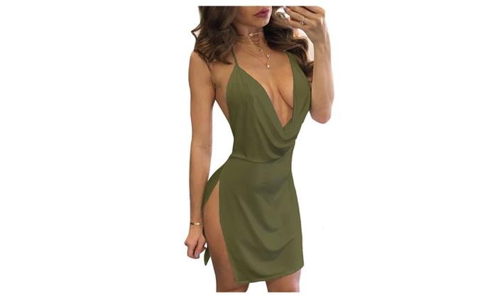 f63eef50af Women s Sexy Deep V-Neck Halter Backless Slit Mini Party Club Dress ...