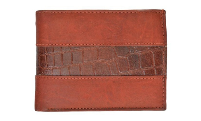 Special Genuine Leather Mens Double Flap Up 4 ID Windows Bifold Wallet