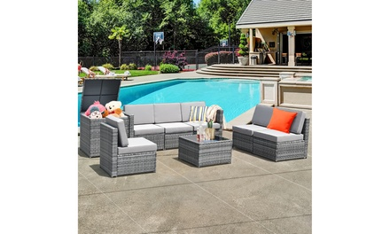 Costway 8PCS Outdoor Wicker Rattan Furniture Set Cushioned Sectional Sofa