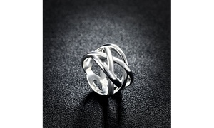 Sleek Silver Interwoven Criss-Cross Band Ring