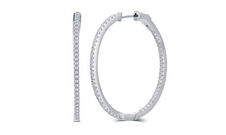 Cubic Zirconia Hoop Earrings Sterling Silver Fashion Jewelry for Women Girls Mom