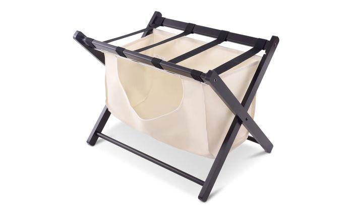 Wood Folding Luggage Rack Bedroom Suitcase Stand Hamper Laundry Bag