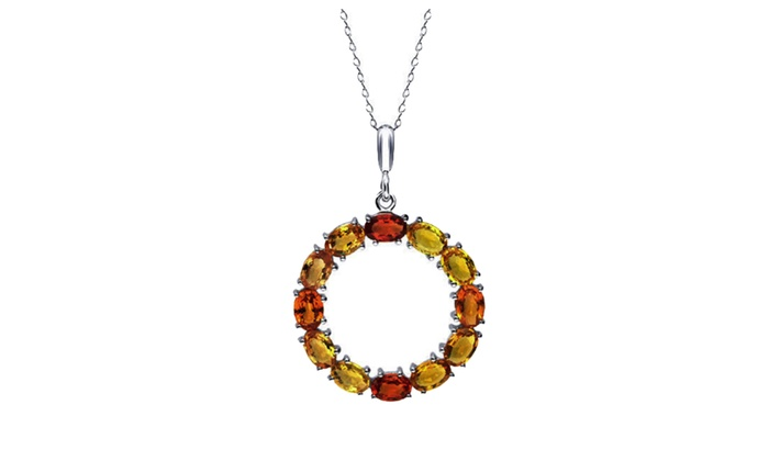 Up to 80 off on tiaara yellow orange sapphire groupon goods tiaara yellow orange sapphire silver pendant with 18 cable chain aloadofball Gallery
