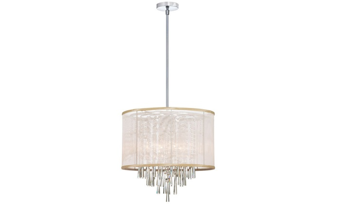 8-Light Polished Chrome Chandelier with Crystal Accents