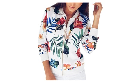 Women Ladies Printing Long Sleeve Tops Zipper Jacket Outwear Tops 465b4a01-d010-495a-9acc-fe5c636943dd