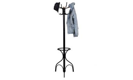Vintage Metal Coat Hat Rack Tree Stand Clothes Hanger Hooks Umbrella Holder