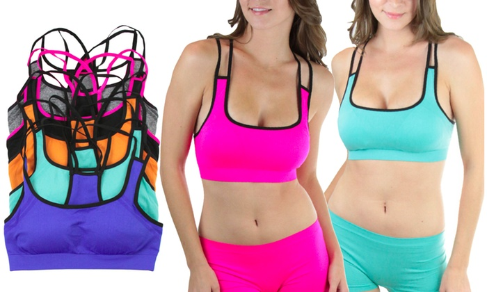 c039afb261aca 6-Pack) Strappy Microfiber Padded Sports Bras and Matching Boyshorts ...