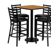 Square NAT Table Set w/ 4 Ladder Back Metal Barstools -BLK Vinyl Seat