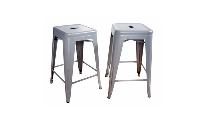 Amerihome Kitchen Loft Silver 24 Inch Metal Bar Stool Groupon