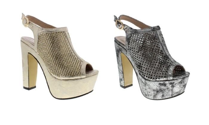 Moca Woman's Vintage style Rhinestone Shimmer Platform Heels