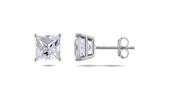 b7e13b08c340e 2 Carat Princess-Cut Created White Sapphire 10kt White Gold Stud Earrings