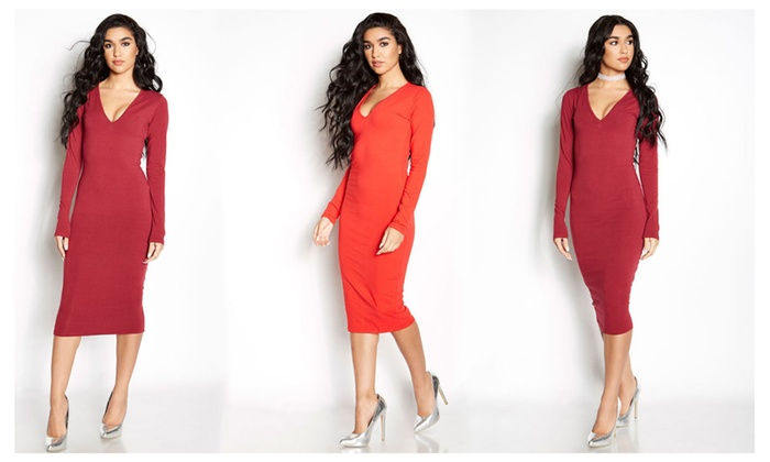 Women's Bodycon Long Sleeve Midi Dress