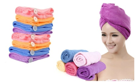 4-Pack Super Absorbent Microfiber Hair Drying Turbans fef6c831-680d-4971-af2c-a2c7cb2f6f02