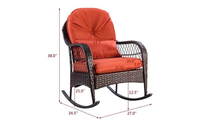 ... Outdoor Wicker Rocking Chair Porch Deck Rocker Patio Furniture W/  Cushion ...