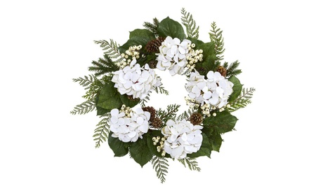 """Nearly Natural 24"""" Gold Trimmed Hydrangea and Berry Wreath abe74454-fea9-44ab-9739-8555361d91ba"""