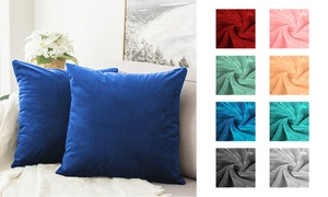 Soft Solid Colored Fleece Pillow Cases and Pillow Covers with Zipper (2-Piece)