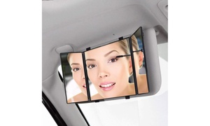 Zone Tech Car Folding Visor Mirror Makeup Travel Cosmetic Tri-Fold