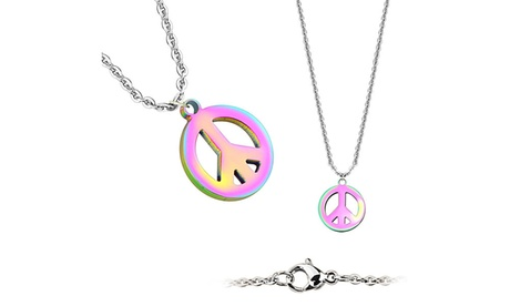Peace Symbol Pendant 316L Stainless Steel Chain Necklace (Sold Ind.) 76a2dc9b-1720-4723-a96a-afa2f915d766