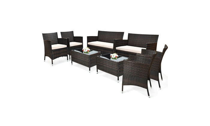 Up To 59% Off On 8PCS Rattan Patio Furniture S... | Groupon Goods