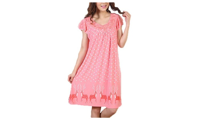 Women's Casual Pullover Slips on Over Head Nightdress - As Picture / One Size