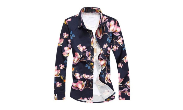 Men's Casual Loose Fit Printed Buttons Up Long Sleeve Shirt