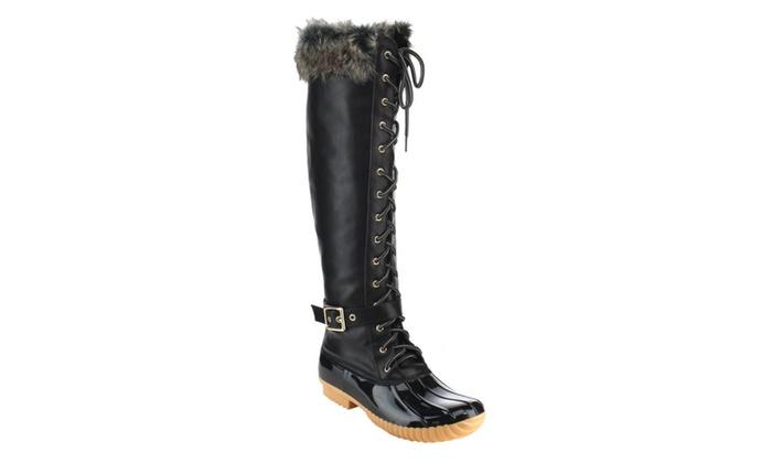 Beston FF70 Women's Knee High Lace Up Waterproof Duck RainBoots