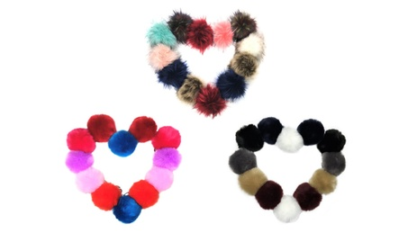 12 Pieces Faux Fox Fur Pom Pom Keychain Bag Purse Charm Silver Ring 60dc192a-ae57-47b3-b9a2-a962d101c220
