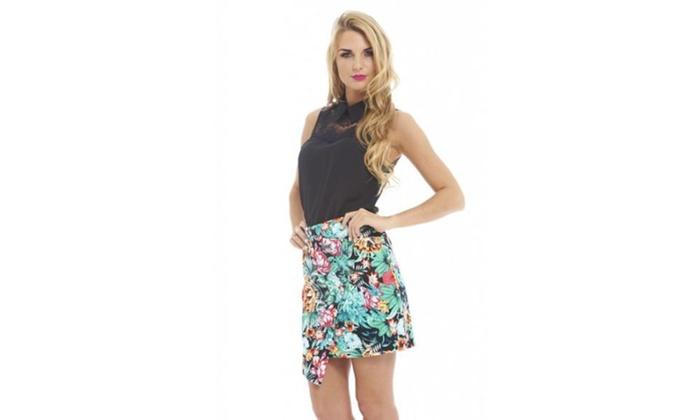 AX Paris Slanted Jungle Print  Skirt