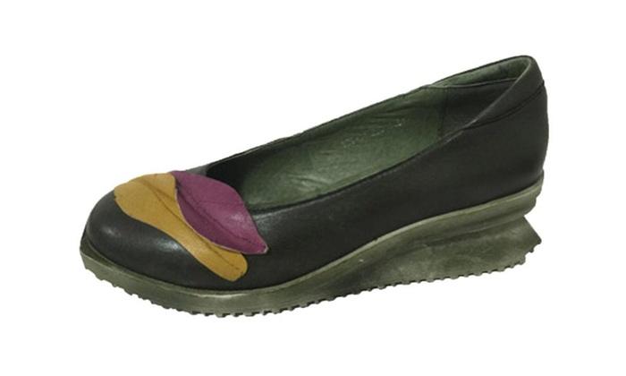 Women's Elegant Leather Wedge Pumps Shoes