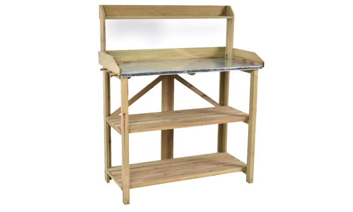 Outdoor Garden Wooden Potting Work Bench Station Planting ...