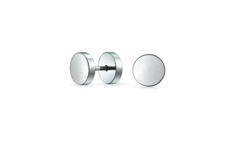 Black Bar Tunnel Illusion Faux Ear Plug Earrings Surgical Steel 16G