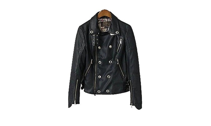 Womens  Sleeve Double Breasted Shoulder Pads Pu Leather Jacket - Figure Color / One Size